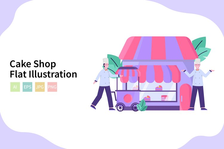 Cake Shop Vector Illustration In Flat Modern Style example image 1