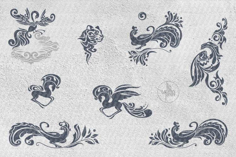 Decorative animals silhouettes, SVG files collection example image 1