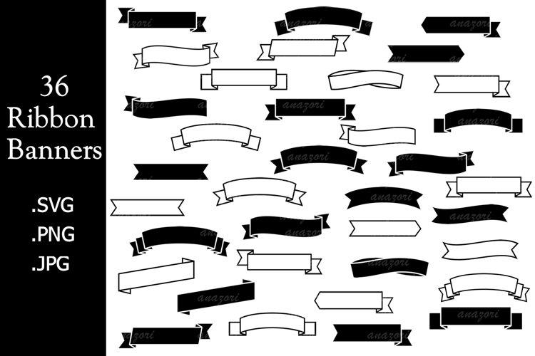 Banner SVG, Label SVG, Ribbon Stencil Clipart, Ribbon Banner example image 1