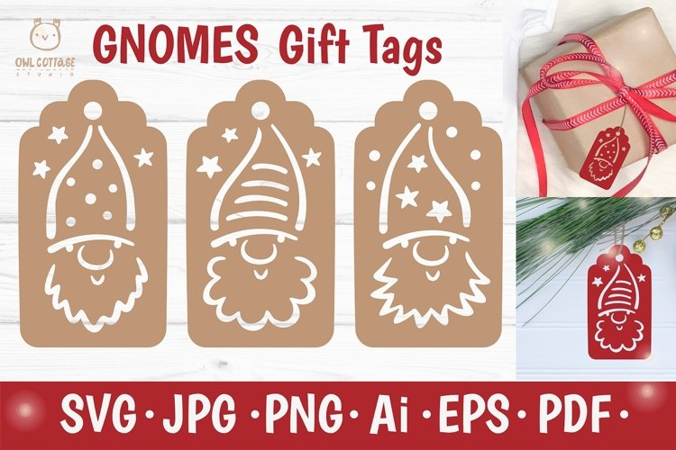 Christmas Gnomes Gift Tags SVG Set, Xmas Gnome Decor example image 1