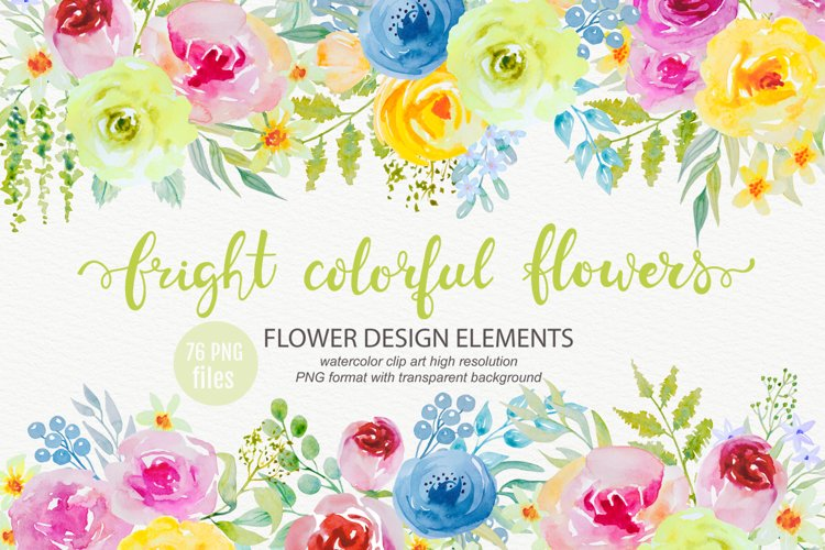 Bright watercolor flowers clipart example image 1