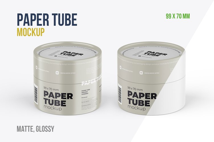 Closed Paper Tube Mockup 99x70mm example image 1