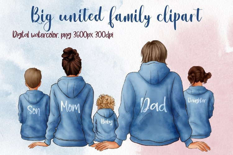 Big United Family Clipart, Family in Hoodies