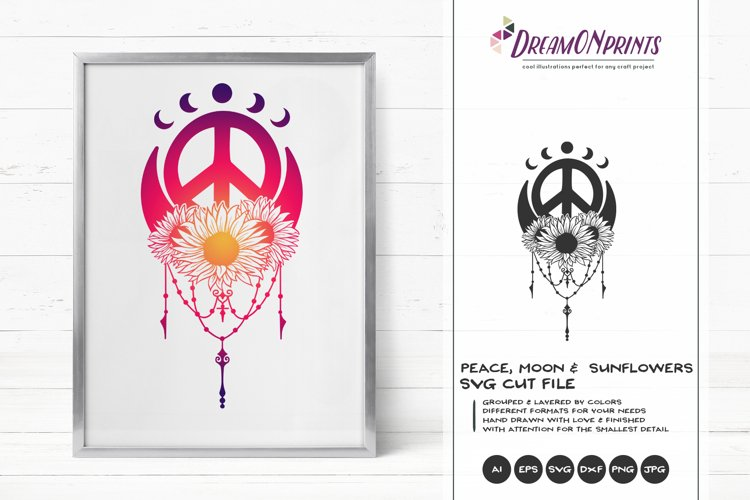 Crescent Moon and Sunflower SVG | Peace Sign SVG example image 1