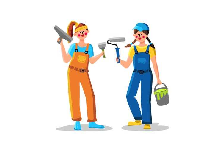 Painter Woman With Paint Roller And Tassel Vector example image 1
