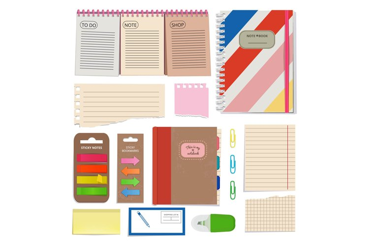 Diary, blank papers, notepad and other organizer tools. Vect example image 1
