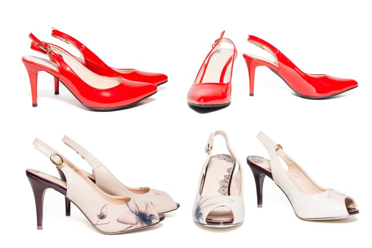 Women's shoes on white background example image 1