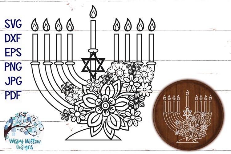 Floral Menorah SVG | Hanukkah SVG Cut File example image 1