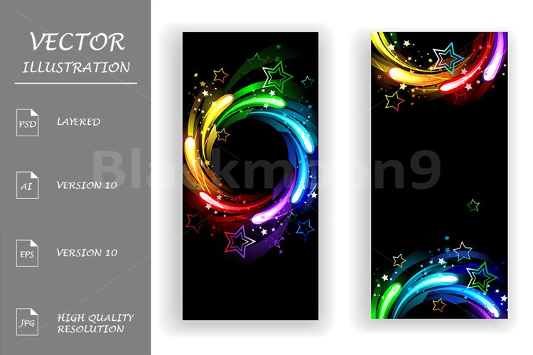 Two Banners with Rainbow Stars example image 1