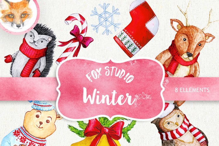 Cute Watercolor characters clipart, Christmas Clipart example image 1