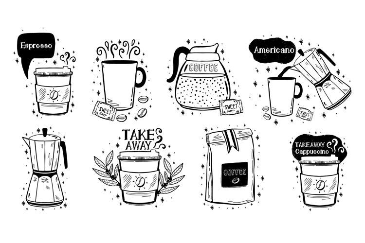 Coffee set menu.Hand drawn doodle style. example image 1