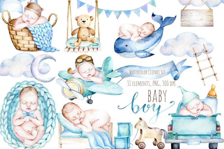 Watercolor Newborn Baby Boy Clipart, Its a Boy! Clipart Set