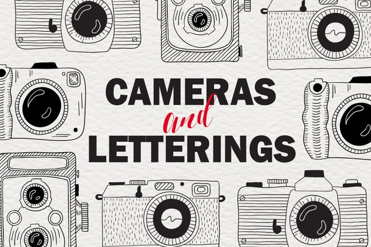 Set of cameras with letterings. example image 1
