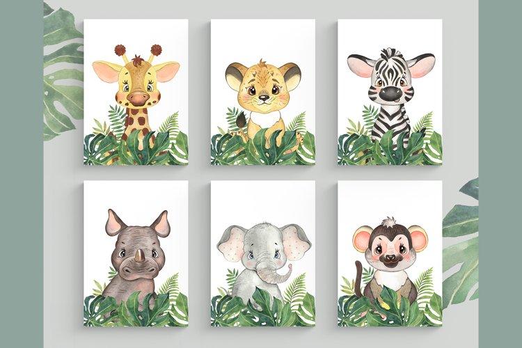 Set of 6 Safari Animal. Nursery Wall Decor. Tropical Prints. example image 1