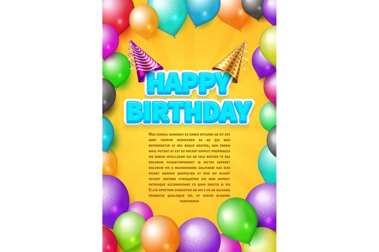 Happy birthday vector invitation card or poster with party h