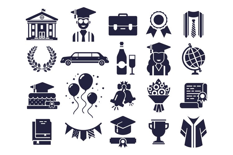 College silhouettes icons. Graduate day, student graduation example image 1