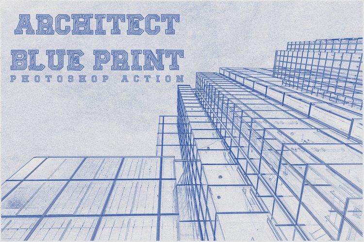 Architect Blueprint Photoshop Action example image 1