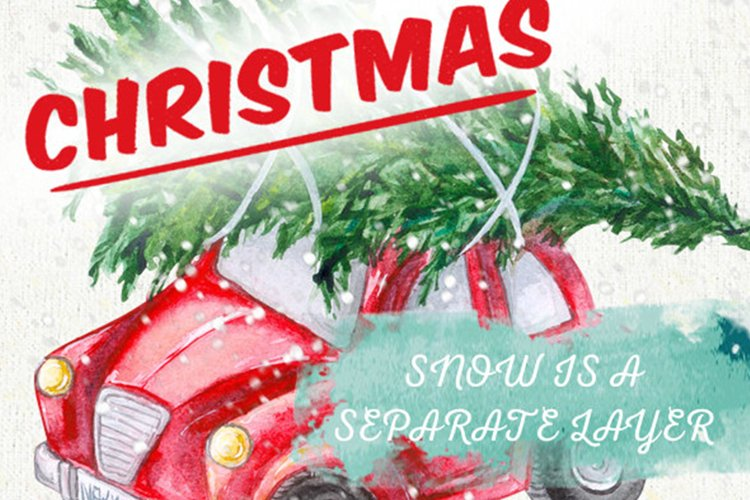 Cute Retro Car with Christmas Tree, Hand painted Watercolor example image 1