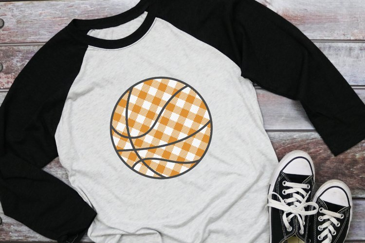 Basketball Mom - Buffalo Plaid Basketball SVG example image 1