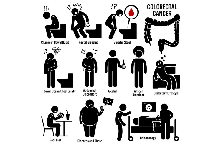 Colon and Rectal Colorectal Cancer Symptoms Causes Risk Icon example image 1