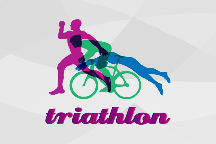 Triathlon logo design. Vector figures triathletes svg