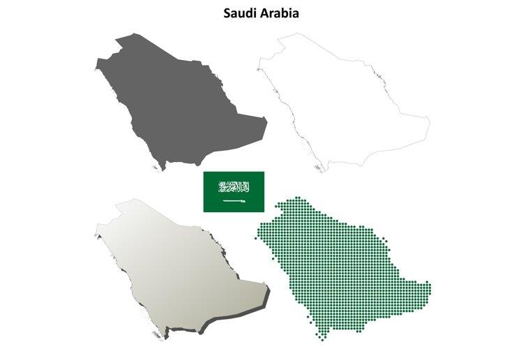 Saudi Arabia outline map set example image 1