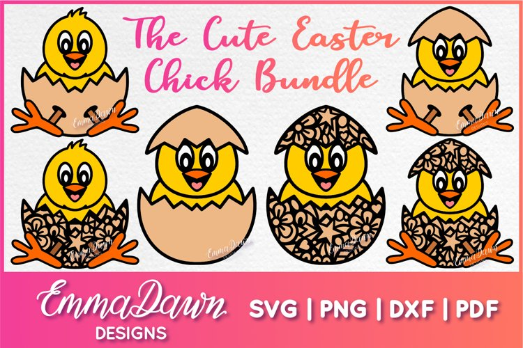 THE CUTE EASTER CHICK SVG BUNDLE 6 MANDALA ZENTANGLE DESIGN example image 1