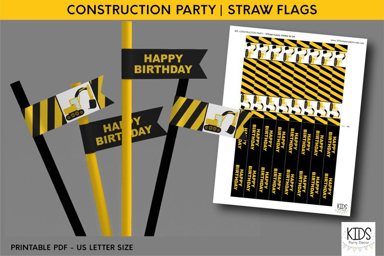 Construction party decorations, kids party straw flags example image 1