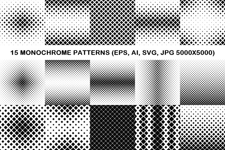15 square patterns EPS, AI, SVG, JPG 5000x5000