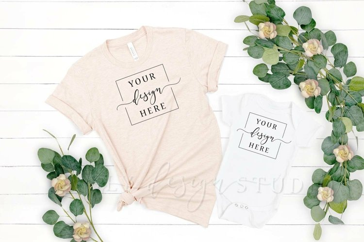 Mommy and Me Bella Canvas Heather Prism Peach Shirt Mockup