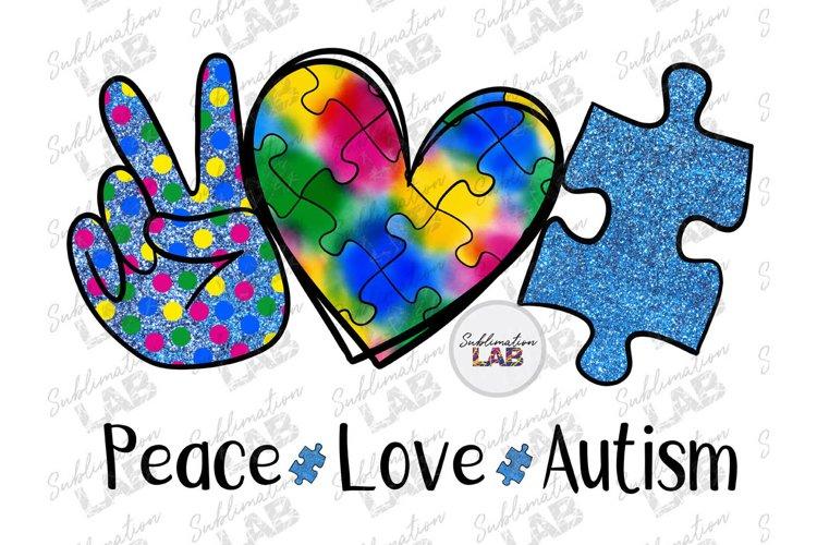Peace Love Autism Awareness Sublimation Design Blue Glitter example image 1