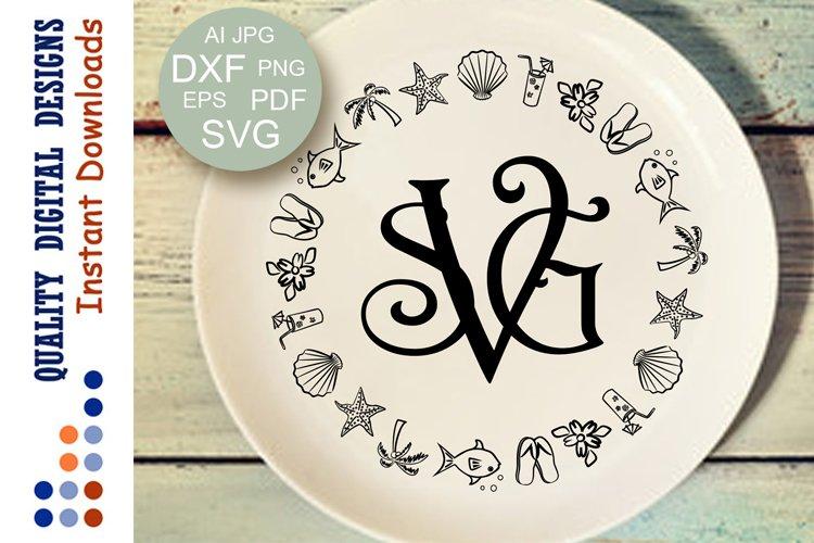 Summer Monogram svg Frames Svg Font bundle Seashells