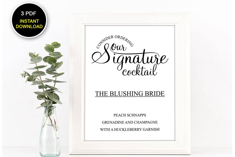 Signature Cocktail Sign Printable, Cocktail Sign, DAD_13 example image 1