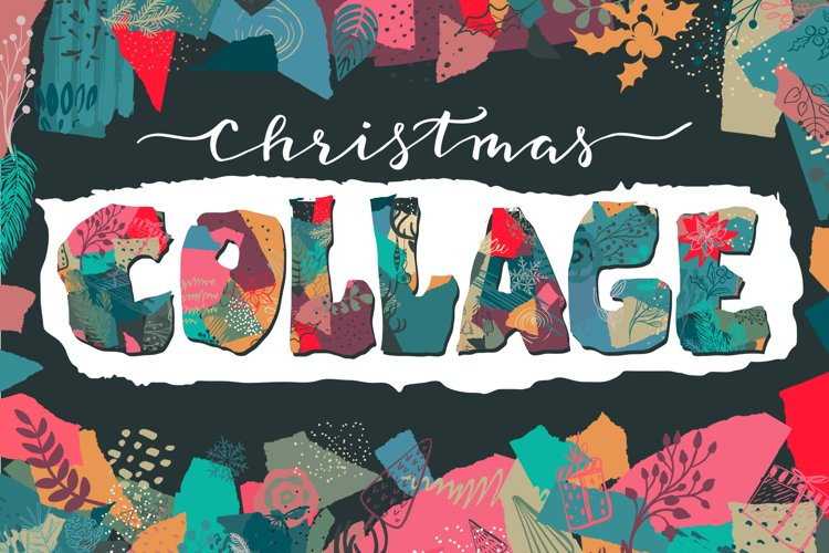 Christmas collage vector set example image 1