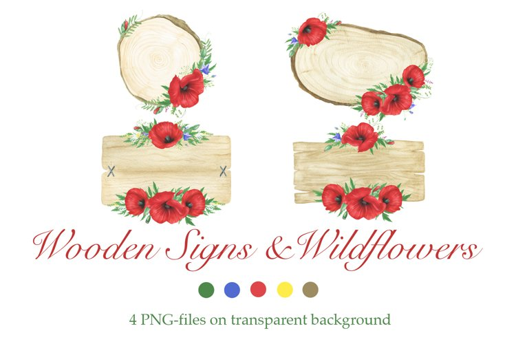Watercolor Wooden Signs and Wildflowers