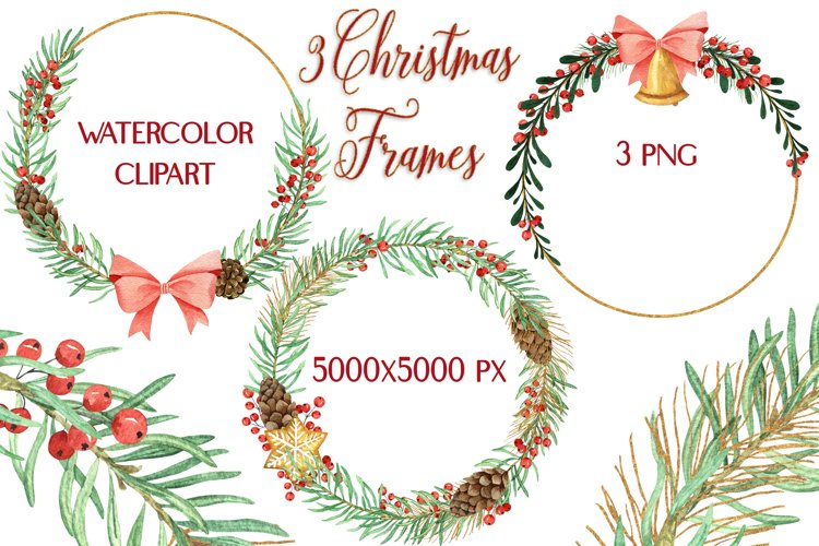 Christmas Watercolor Gold Frames Clipart example image 1