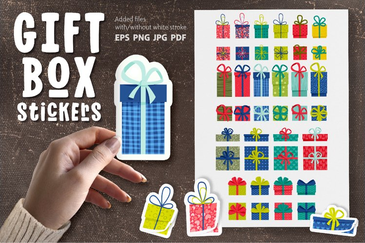 Gift Box Sticker Bundle | Stickers Pack | EPS PNG JPG example image 1
