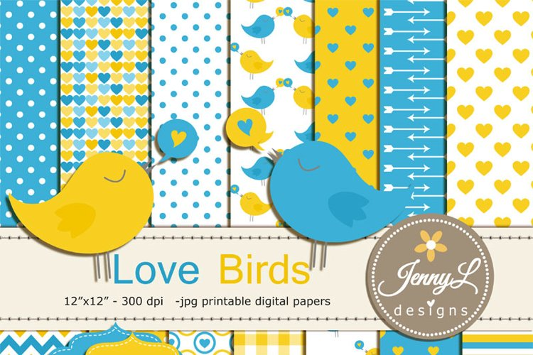 Love Birds Digital Papers and Clipart, Valentines Day, Hearts Valentine Baby Shower, Baby Baptism Invitation, Scrapbooking Paper, Yellow
