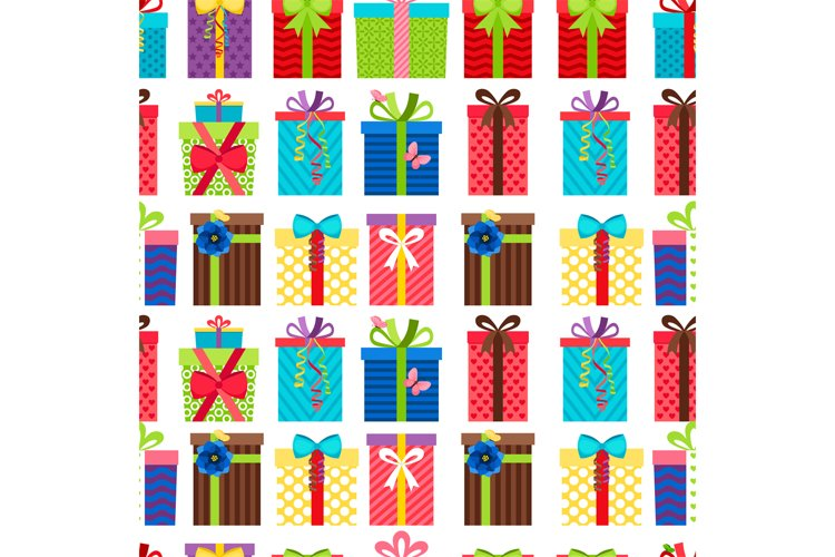 Seamless pattern with gift boxes example image 1
