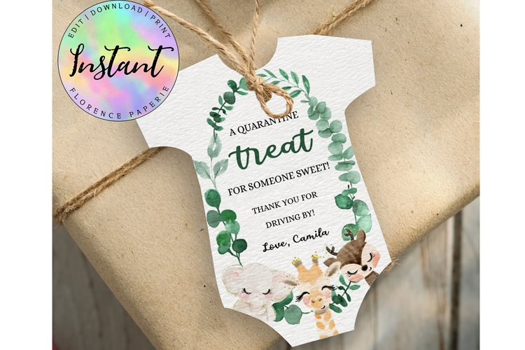 Editable Digital Onesie tag, Drive by Baby Shower DB20 example image 1