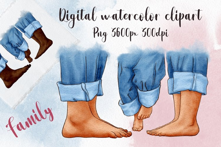 Family feet clipart, parents and child clipart, barefoot