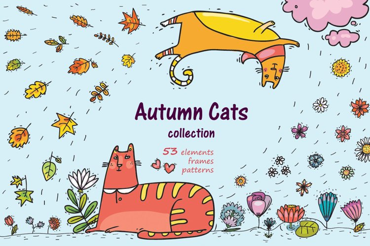 Autumn Cats - clip-art collection, patterns, frames example image 1