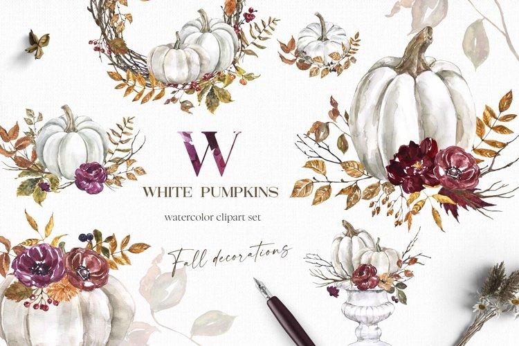 White Pumpkin Clipart Watercolor Fall Floral Arrangement