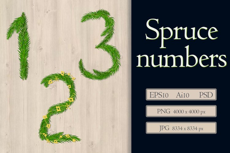 A set of numbers from fir branches. example image 1