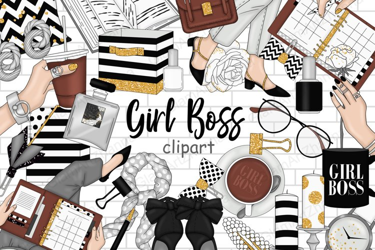 Girl Boss CLIPART Pink Gray Fashion Babe Stickers PNG files example image 1