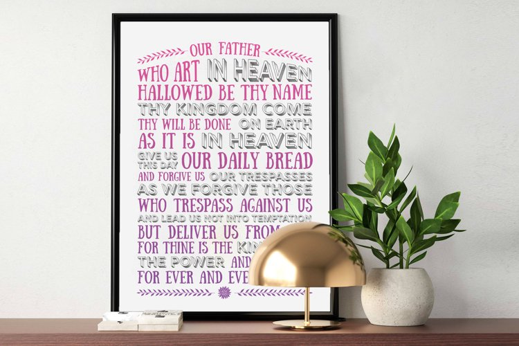 The Lord's Prayer - pink & purple example image 1