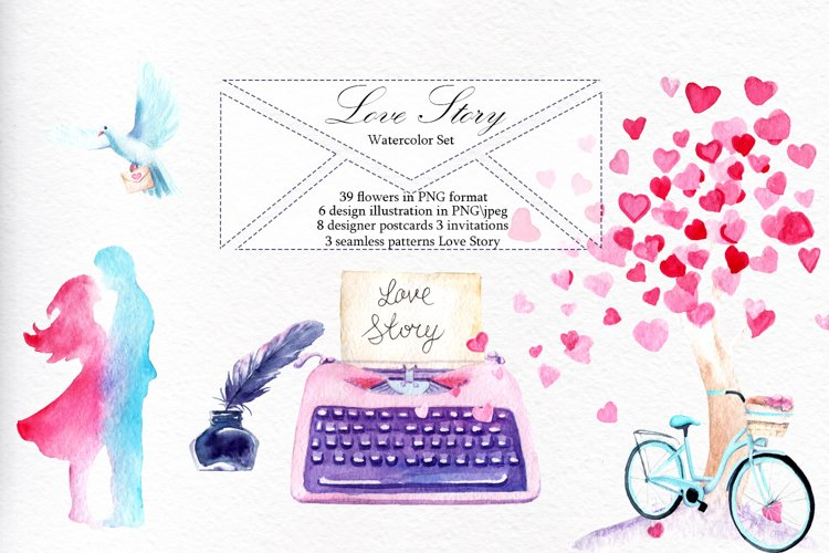 Love Story Watercolor Set example image 1