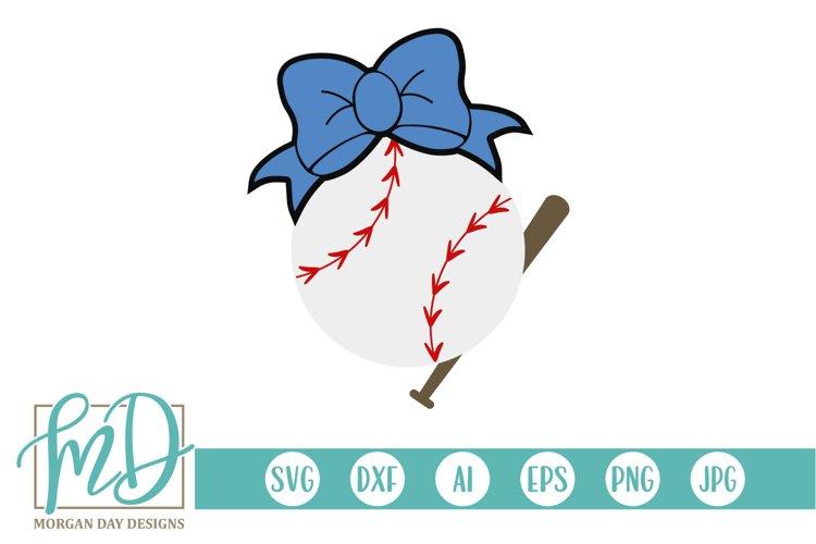 Baseball Sister - Biggest Fan - Baseball Bat Bow SVG example image 1