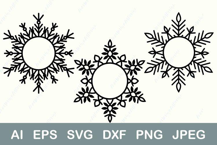 Snowflake monogram svg, Christmas wreath svg, Circle frame example image 1