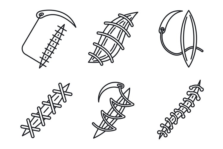 Medical suture icons set, outline style example image 1